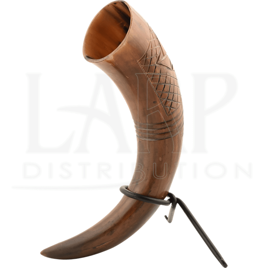 Carved Drinking Horn with Stand