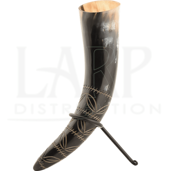 Leaf Pattern Drinking Horn with Stand