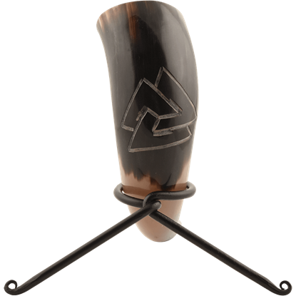 Valknut Drinking Horn with Stand