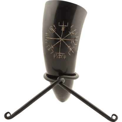 Vegvisir Viking Drinking Horn with Stand