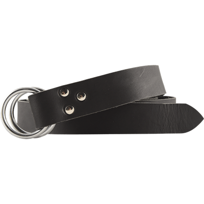 Double Ring Leather Belt - Black