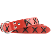 Laced Leather Ring Belt - Red with Black