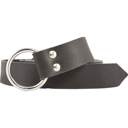 Leather Medieval Ring Belt - Black