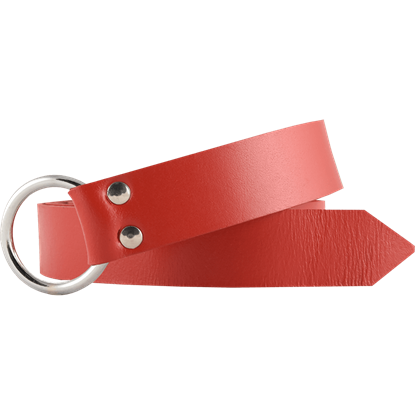 Leather Medieval Ring Belt - Red