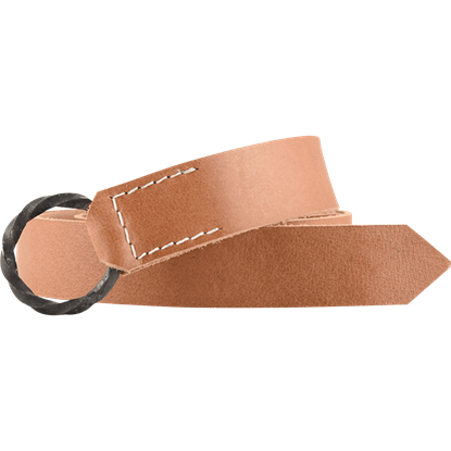 Twisted Iron Ring Leather Belt
