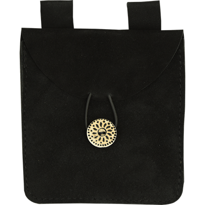 Small Black Suede Pouch