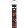 Laced Leather Ring Belt - Black with Red