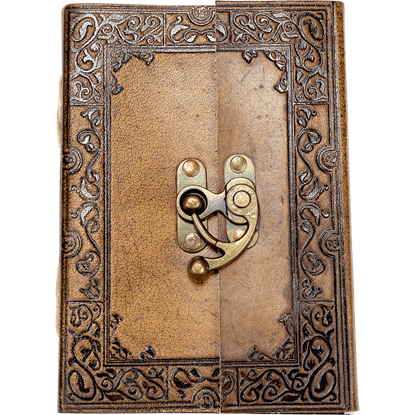 Ornate Border Leather Journal with Clasp