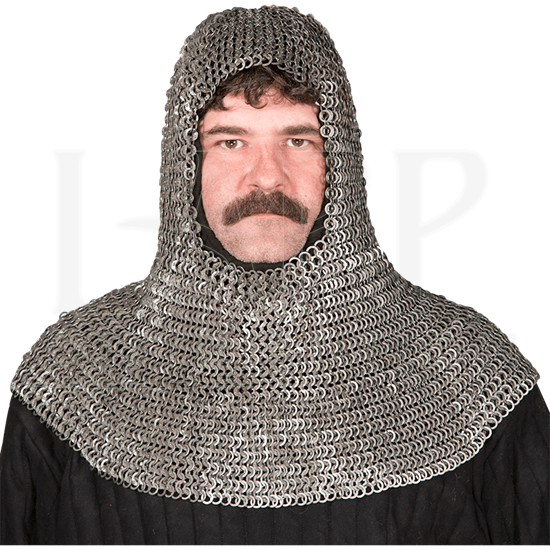 Flat Ring Wedge Rivet Chainmail Coif