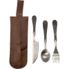 Feasting Utensils with Leather Pouch