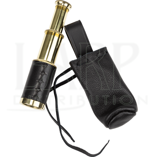 Black Leather Wrapped Telescope with Pouch