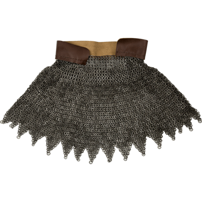 Flat Ring Round Riveted Chainmail Aventail With Dagged Edges