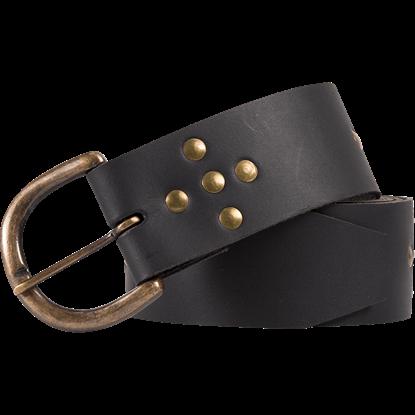 Brass Stud Medieval Cross Belt - Black