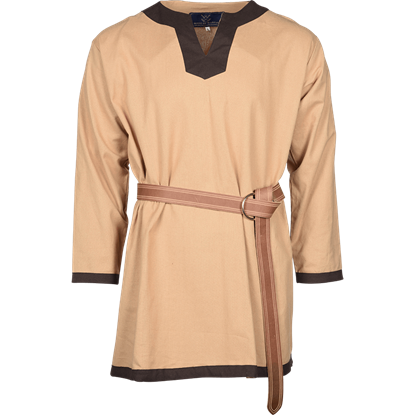 Basic Medieval Tunic - Natural with Brown