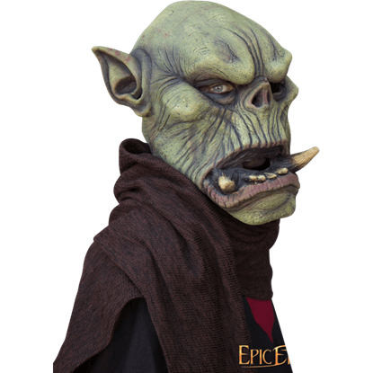 Green Orc Mask with Large Tusks